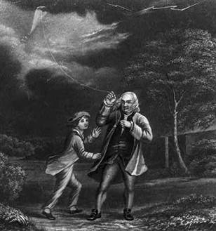 Benjamin Franklin Flying his Kite Image