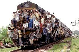 Passenger Train Filled with People Image