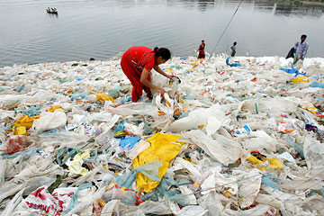 Landfills Filled with Plastic Bag Image