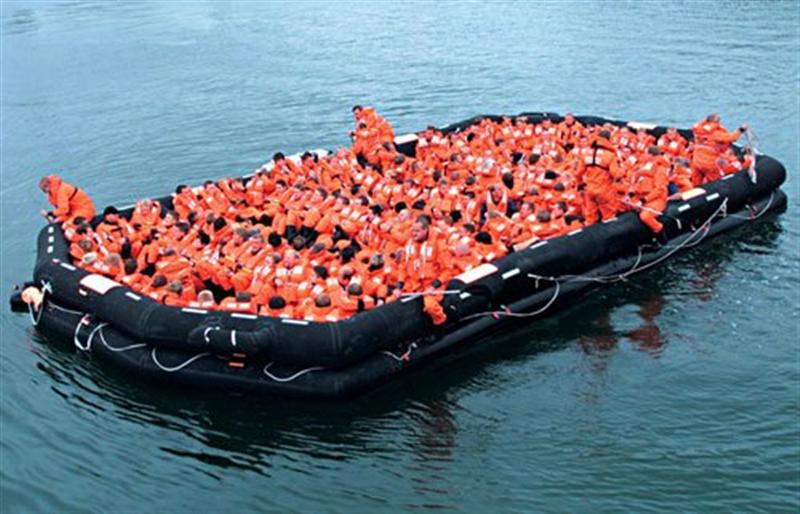 Raft Filled with People - Boat Image