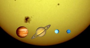 Size of the Sun Compared to the Planets Image