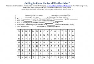 Being a Weather Forecaster Worksheet Picture