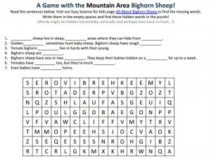 Download the FREE Mountain Area Bighorn Sheep Worksheet!