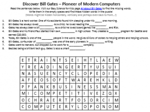 Download the Free Bill Gates Biography Worksheet for Kids!