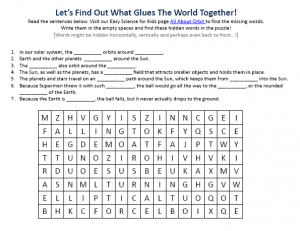 Earth Science Orbit - Free Hidden Words Puzzle To Download -
