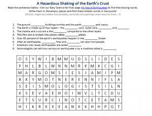 Earthquakes Worksheet - Free Hidden Word Activity Sheet to Print