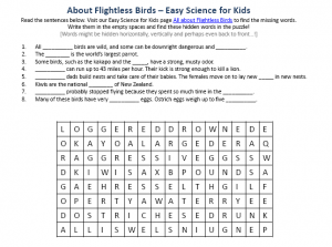 Download the FREE Flightless Birds Worksheet for Kids!