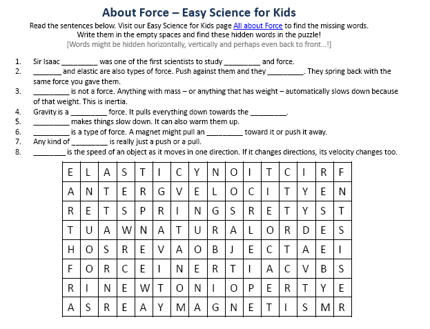 Force Science Facts Worksheet Image Easy Science For Kids