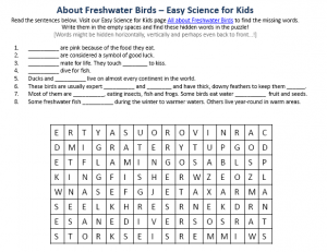 Download the FREE Freshwater Birds Worksheet for Kids!