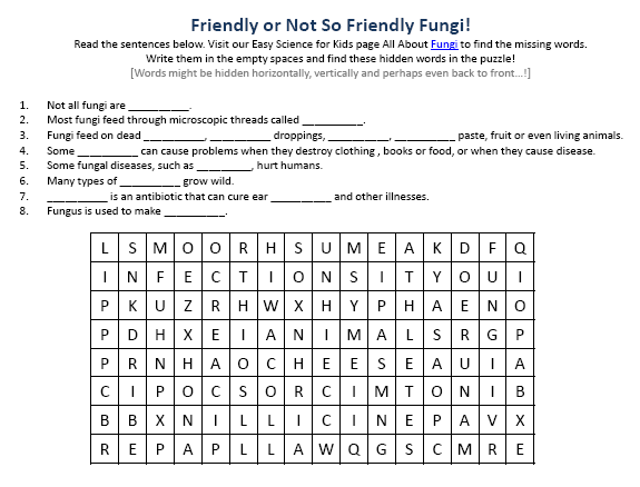{Image of Free Fungi Worksheet Easy Science For Kids – Fungi Worksheet