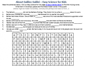 ... Galilei Biography Worksheet – Free Printables for Science for Kids