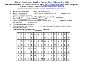 Service Dogs Worksheets For Kids: Guide and Service Dogs Worksheet   Free Word Search Game    ,