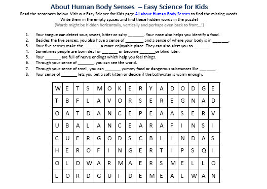 Printables Human Body Worksheets human body senses comprehension worksheet picture easy science picture