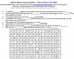 Download FREE Ignaz Semmelweis Biography Worksheet for Kids!