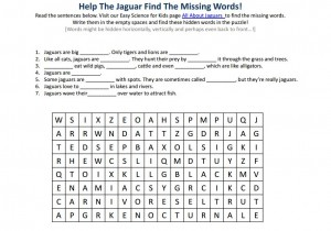 Download the Jaguar Free Science Worksheet For Educators