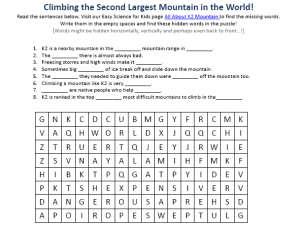 Download the FREE K2 Mountain Worksheet for Kids!