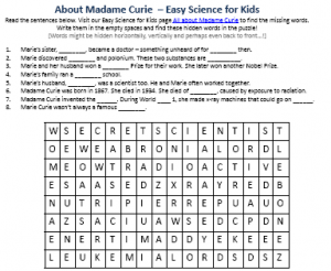 image about Printable Biography Worksheets known as Madame Curie Biography Worksheet - Totally free Printables Concealed