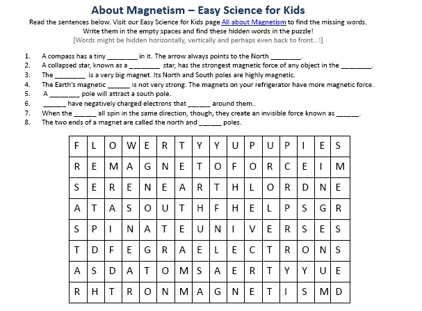 image of free magnetism worksheet easy science for kids. Black Bedroom Furniture Sets. Home Design Ideas