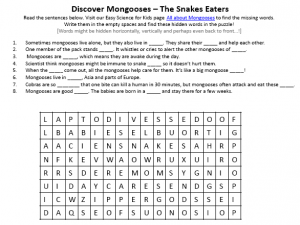 Download the FREE Mongooses Worksheet for Kids!