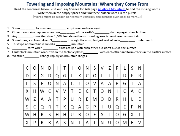 Worksheet Earth Science Worksheets mountains earth science facts worksheet image easy for kids image