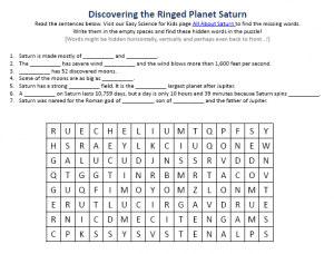 Download the Planet Saturn Worksheet!