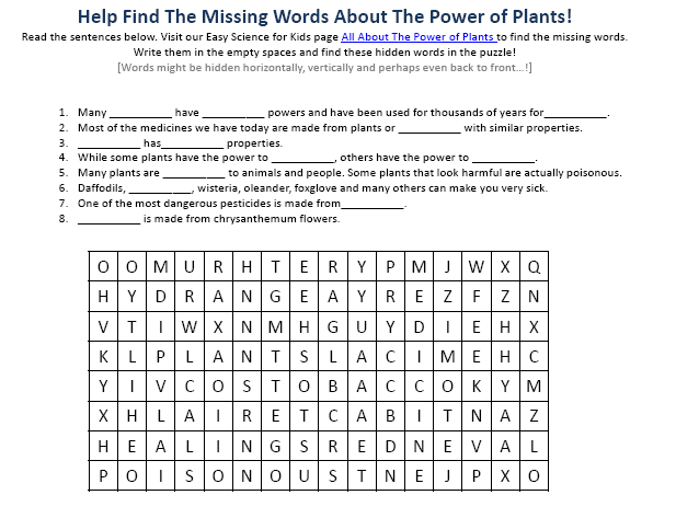 Power Of Plants Science Facts Worksheet Easy For Kids. Power Of Plants Science Facts Worksheet. Worksheet. Power Worksheet At Mspartners.co