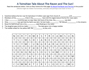 Raven and the Sun Myth Earth Science Facts Worksheet Image