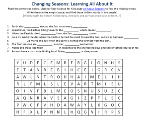 Seasons of the Year Earth Science Facts Worksheet Image