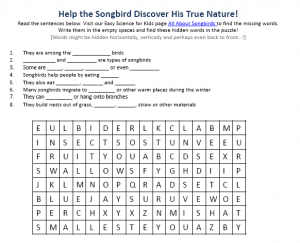 Download the Songbirds Worksheet!