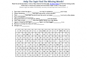 Download the FREE Tapirs Hidden Words Activity Sheet!