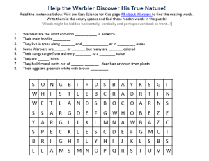 Download the FREE Warblers Worksheet for Kids!