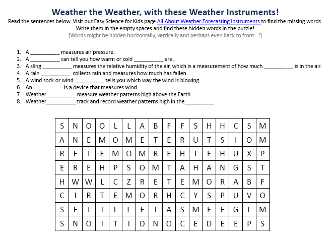 Weathe Forecasting Instruments Facts Worksheet Image on classification worksheets