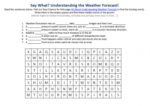 Weather Forecasting Activity Sheet - Free Printable Find the Words ...