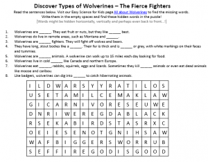 Wolverines word search puzzle printable Worksheet Picture