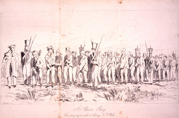 All about Australian Convict Sites Fun Facts for Kids - A 1842 Illustration of Convicts Going to Work Near Sydney, Australia
