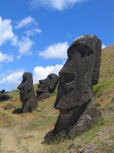All about Chile Fun Geography Facts for Kids - Image of Moai Rano Raraku in Chile