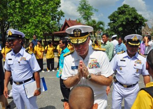 Easy Science for Kids All about Thai Greeting - US Navy Officer Giving Wai to an Elder Thai image