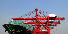Easy Science for Kids on Transportation - image of Harbour Cranes Unloading Cargo from a Container Ship