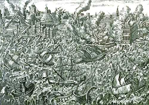 Fun Geography Facts for Kids All About The Great Earthquake of Lisbon - a Copper Engraving Showing Lisbon in Flames