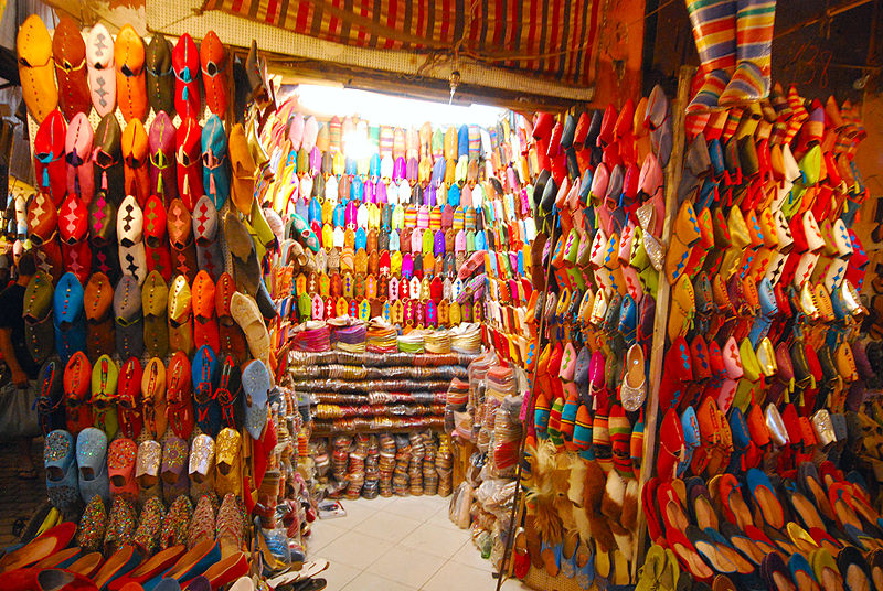 Fun Geography for Kids on Morocco - Image of Handmade Shoes in Morocco
