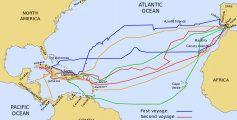 Geography Fun Facts for Kids on Christopher Columbus - the Route of Christopher Columbus' Voyages