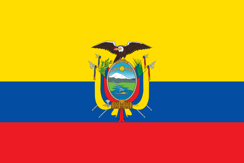 Easy Geography for Kids Ecuador Quiz - Image of the National Flag of Ecuador