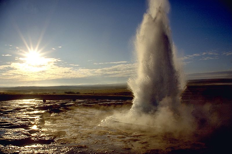 Fun Earth Science for Kids on Geysers and Hot Springs Quiz - Image of the Strokkur Geyser in Iceland