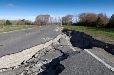Fun Facts for Kids on Earthquakes - Image of a Road Damaged by Earthquake - Natural Disasters and Continents Quiz