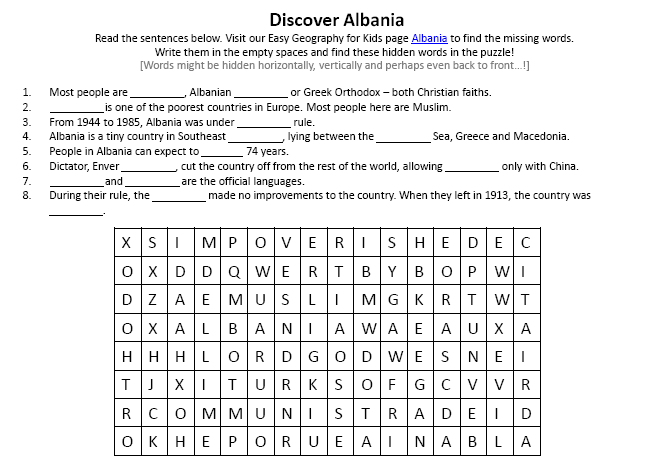 image of albania worksheet fun earth science activities for kids worksheets easy science for. Black Bedroom Furniture Sets. Home Design Ideas