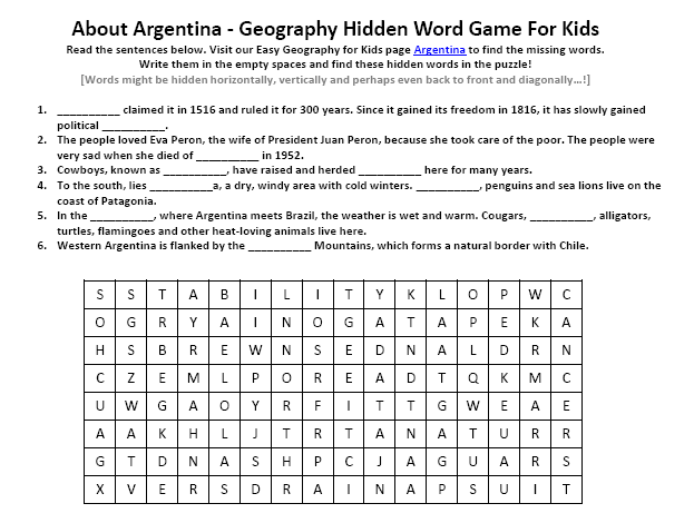 image of argentina worksheet free printable earth science worksheets easy science for kids. Black Bedroom Furniture Sets. Home Design Ideas