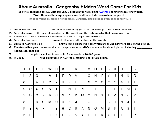 image of australia worksheet free earth science hidden words puzzle earth science for kids. Black Bedroom Furniture Sets. Home Design Ideas