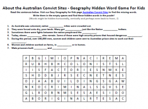Download our FREE Australian Convict Sites Worksheet for Kids!