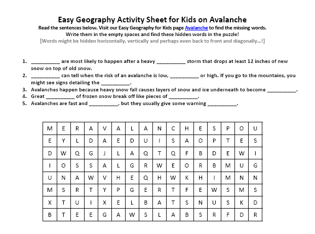 Download our FREE Avalanche Worksheet for Kids!