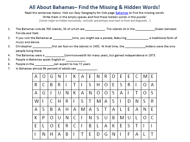 Download our FREE Bahamas Worksheet for Kids!